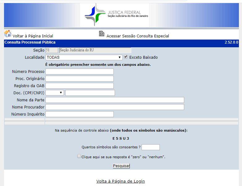 Portal de consulta de Precatórios na Seção Judiciária do Rio de Janeiro