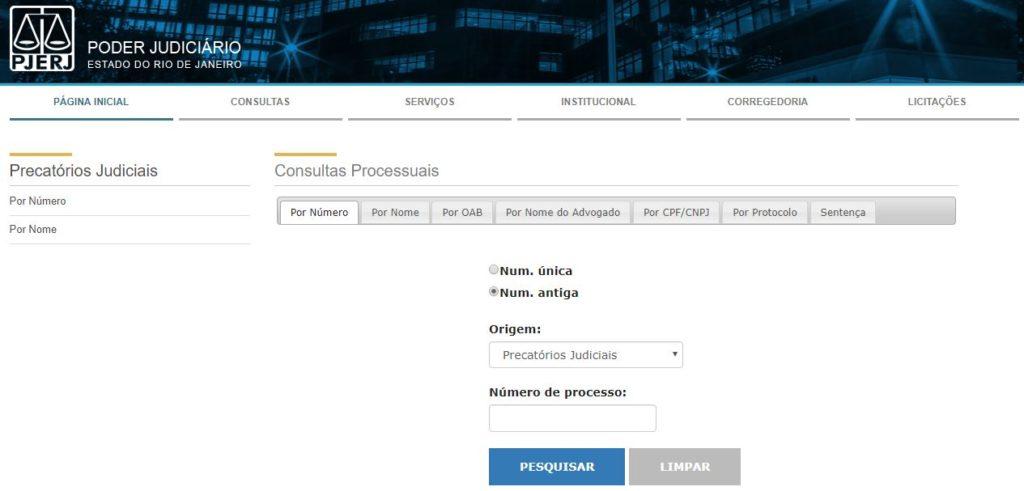 Portal de consulta de Precatórios no TJRJ