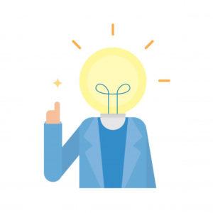 pessoa com cabeça de lampada, alusivo à ideia