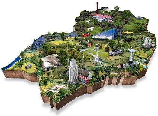mapa 3D ilustrativo sudeste do Brasil