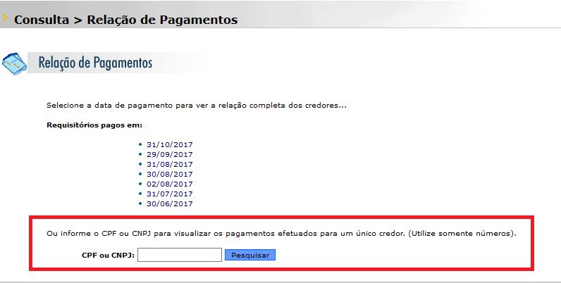 consulta pagamentos de rpvs em São Paulo
