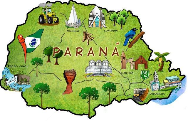 mapa ilustrativo estado do paraná