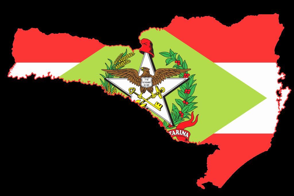 mapa de santa catarina com a bandeira