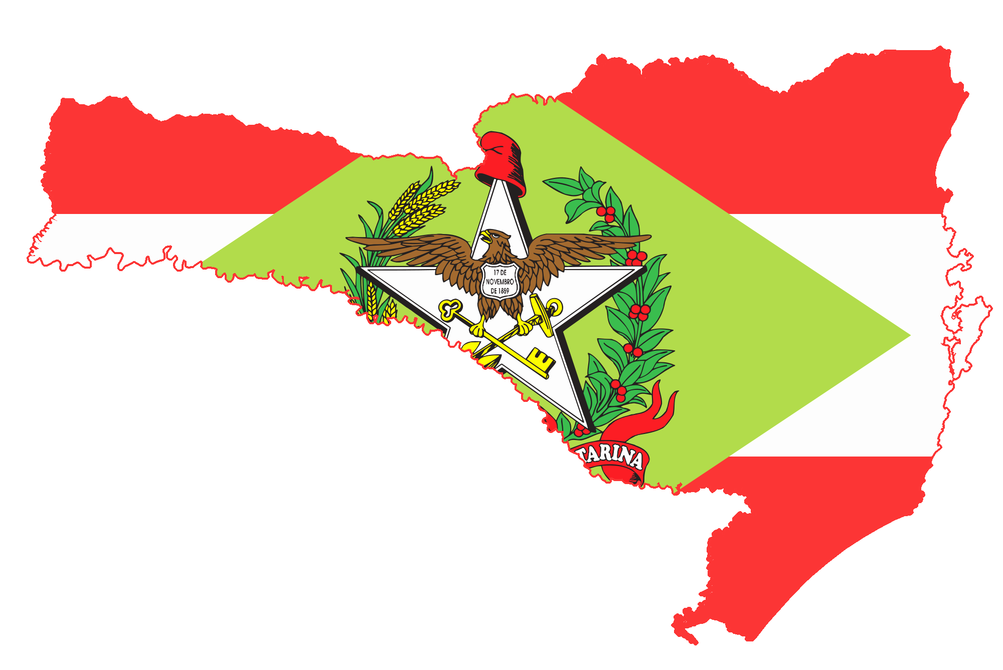 Mapa de SC com bandeira - Acordo direto em Santa Catarina