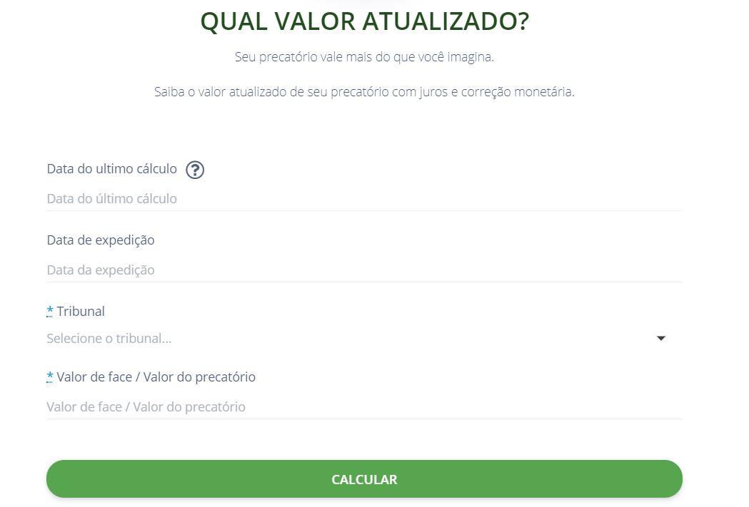 Detalhamento da calculadora de atualização de valores de precatórios