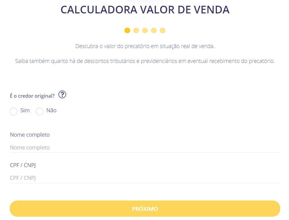 Primeiro passo para o cálculo do valor de venda