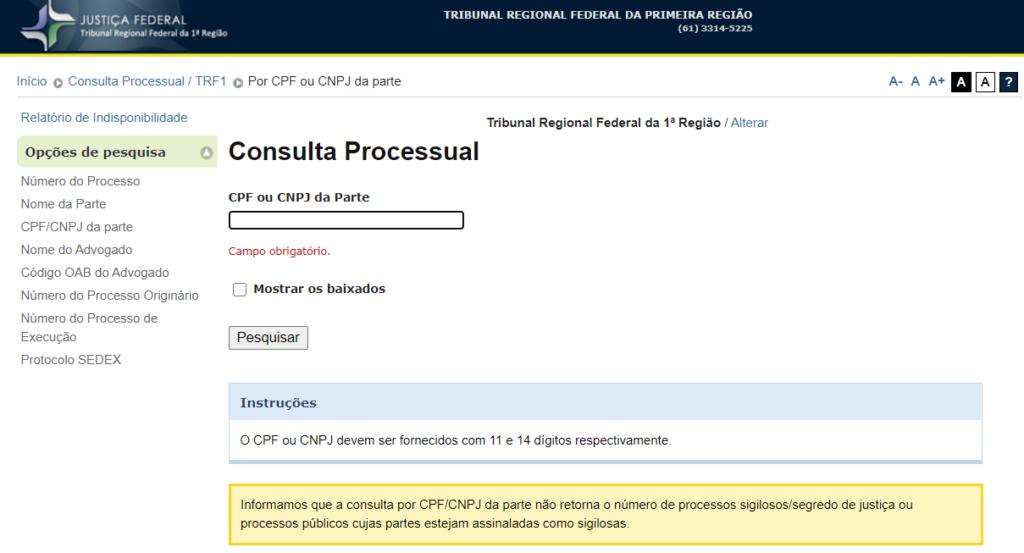 Página para consulta de precatório federal TRF1