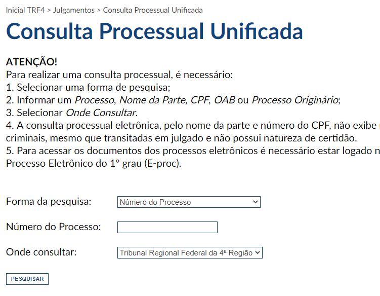 Página para consulta de precatórios do TRF4
